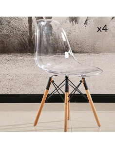Eva transparent  Lot de 4 chaises