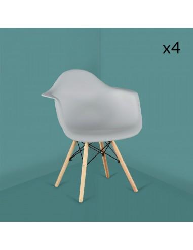 Maya  lot de 4 chaises gris