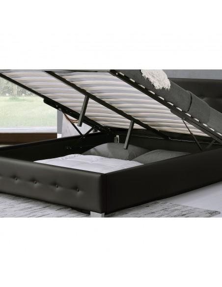 Lit Newington Structure de lit capitonnée Noir avec coffre de rangement intégré 140x190 cm